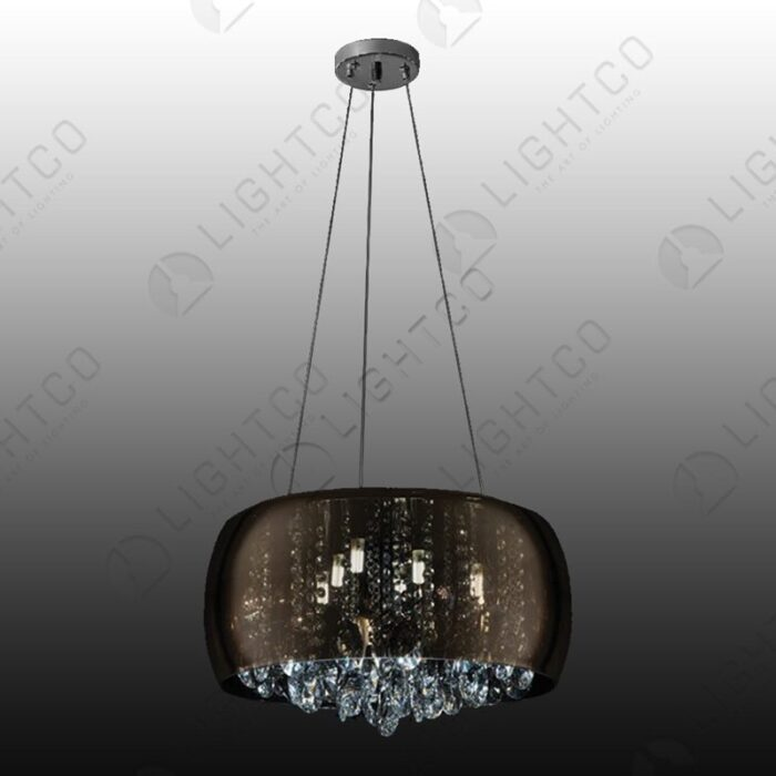 PENDANT ROUND GLASS AND CRYSTAL