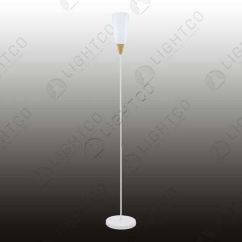 FLOOR LAMP WITH WOOD DETAIL AND GLASS SHADE 93692