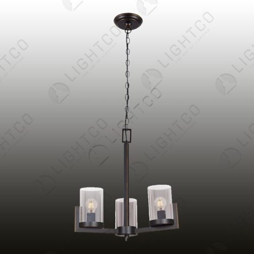 CHANDELIER 3 LIGHT WROUGHT IRON GLASS SHADES