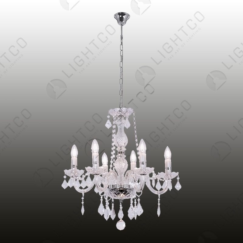 CHANDELIER 6 LIGHT CRYSTAL AND GLASS