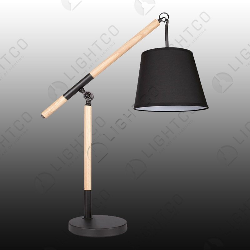 Hanging Table Lamp: TABLE LAMP WOOD WITH HANGING SHADE
