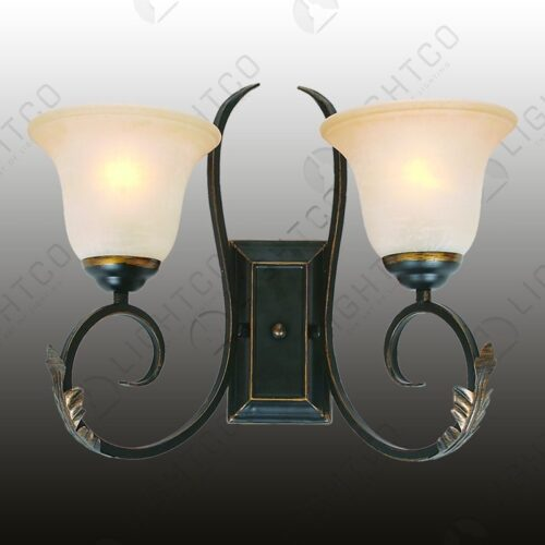 WALL LIGHT DOUBLE WITH LEAF & AMBER GLASS