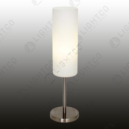 TABLE LAMP SAT/CHR AND GLASS