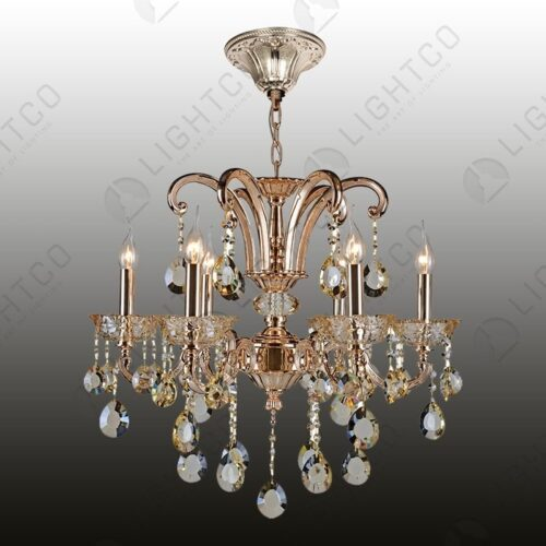 CHANDELIER 6 LIGHT WITH CRYSTALS CHAIN AND CEILING CUP