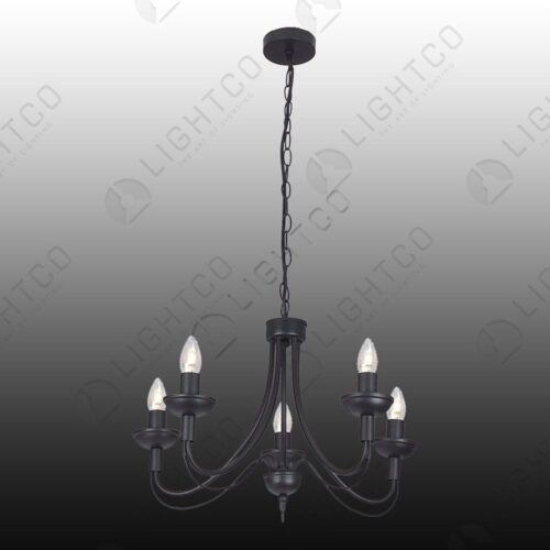 CHANDELIER 5 LIGHT BLACK WROUGHT IRON