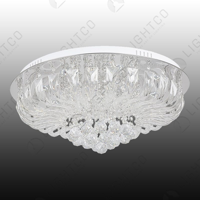 CEILING FITTING WITH GLASS AND CRYSTALS
