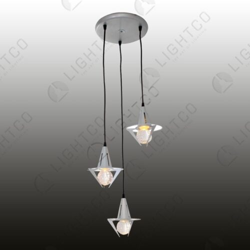 PENDANT 3 LIGHT GLASS BALL IN CLAW