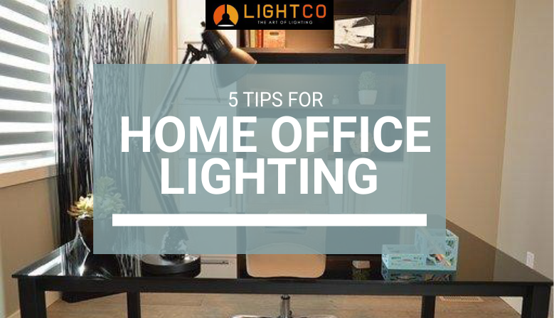 Home office with a large task light on the desk